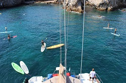 Sayulita Sailing Tour with paddleboarders at the Marietas Islands