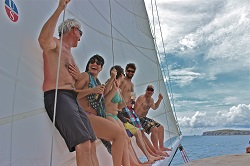 Sayulita tourists on a sailboat charter to the Marietas Islands
